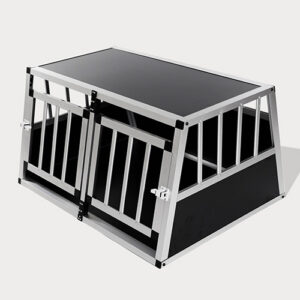Small Double Door Dog Cage With Separate Board 65a 89cm