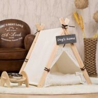 Pet Tents: Pet Teepee Bed House Folding Dog Cat Tents Dog Tent Pet Tent: White Front Lace Dog House Lace Teepee 06-0950 Pet Tent: White Front Lace Dog House Lace Teepee 06-0950